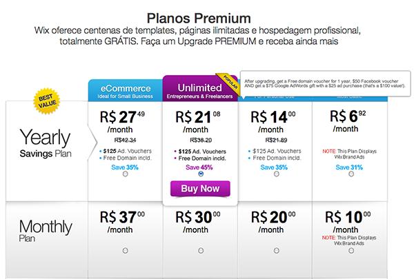 wix lista de preços